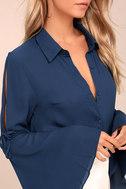 Estrella Navy Blue Long Sleeve Button-Up Top 4