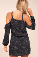 Lucy Love Makeout Charcoal Grey Embroidered Dress 3