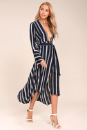 Faithfull the Brand Carioca Navy Blue Striped Wrap Dress 2
