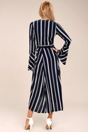 Faithfull the Brand Carioca Navy Blue Striped Wrap Dress 3