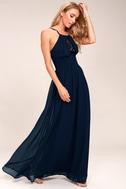 Cherish the Night Navy Blue Lace Maxi Dress 2