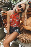 Poppy Parade Coral Red Floral Print Halter Top 5