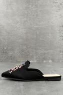 Masie Black Satin Beaded Loafer Slides 1