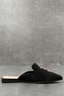 Masie Black Satin Beaded Loafer Slides 3