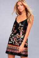 Traveled So Far Black Print Satin Slip Dress 1