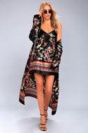 Traveled So Far Black Print Satin Slip Dress 2