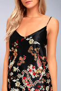 Traveled So Far Black Print Satin Slip Dress 4