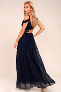 Have This Dance Navy Blue Lace Off-the-Shoulder Maxi Dress 2