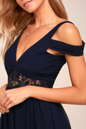 Have This Dance Navy Blue Lace Off-the-Shoulder Maxi Dress 4