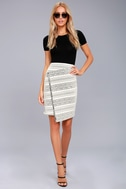 Three Little Birds Black and Cream Print Pencil Skirt 2