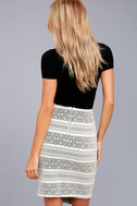 Three Little Birds Black and Cream Print Pencil Skirt 3