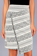 Three Little Birds Black and Cream Print Pencil Skirt 4