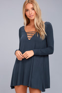 Lucy Love Great Day Washed Navy Blue Swing Dress 3