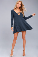 Lucy Love Great Day Washed Navy Blue Swing Dress 2
