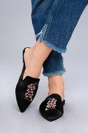 Masie Black Satin Beaded Loafer Slides 5