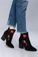 Silent D Manda Black Suede Leather Embroidered Ankle Booties 5