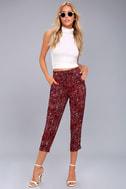 Tavik Nori Wine Red Print Cropped Pants 1