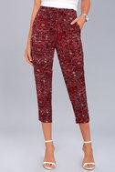 Tavik Nori Wine Red Print Cropped Pants 2