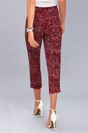 Tavik Nori Wine Red Print Cropped Pants 3