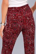 Tavik Nori Wine Red Print Cropped Pants 4
