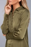 Black Swan Tess Olive Green Satin Button-Up Top 4