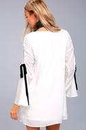 Cherish White Long Sleeve Shift Dress 3