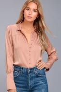 Black Swan Tess Blush Pink Satin Button-Up Top 1