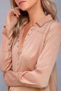 Black Swan Tess Blush Pink Satin Button-Up Top 4