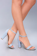 Veda Blue and White Striped Ankle Strap Heels 4