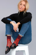 Free People Riot Sport Wine Red Striped Fishnet Socks 2