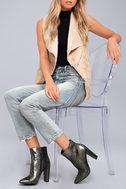 Jessica Simpson Teddi Black and Gunmetal Leather Ankle Booties 2