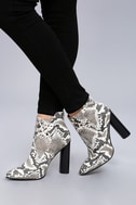 Scarlett Black and White Snake Print High Heel Ankle Booties 2