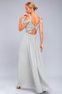 Have This Dance Grey Lace Off-the-Shoulder Maxi Dress 2