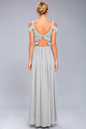 Have This Dance Grey Lace Off-the-Shoulder Maxi Dress 3