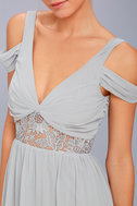 Have This Dance Grey Lace Off-the-Shoulder Maxi Dress 4