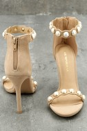 Pearla Nude Suede Pearl Ankle Strap Heels 3