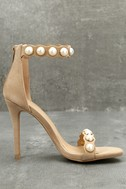 Pearla Nude Suede Pearl Ankle Strap Heels 2