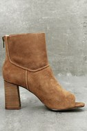 Sbicca Rozene Tan Suede Peep-Toe Ankle Booties 3