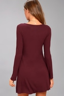 Lucy Love Kelly Taylor Burgundy Long Sleeve Knot Dress 3