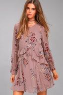ASTR the Label Heather Mauve Floral Print Long Sleeve Dress 1