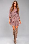ASTR the Label Heather Mauve Floral Print Long Sleeve Dress 2