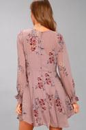 ASTR the Label Heather Mauve Floral Print Long Sleeve Dress 3