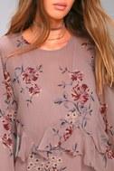 ASTR the Label Heather Mauve Floral Print Long Sleeve Dress 4