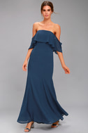 All My Heart Navy Blue Off-the-Shoulder Maxi Dress 1