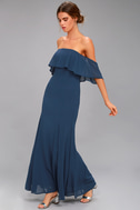 All My Heart Navy Blue Off-the-Shoulder Maxi Dress 2