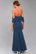 All My Heart Navy Blue Off-the-Shoulder Maxi Dress 4