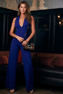 Thinking Out Loud Royal Blue Backless Jumpsuit 7
