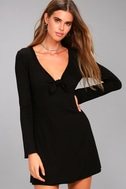 Lucy Love Kelly Taylor Black Long Sleeve Knot Dress 1