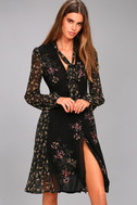 ASTR the Label Tyra Black Floral Print Long Sleeve Wrap Dress 1