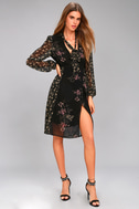 ASTR the Label Tyra Black Floral Print Long Sleeve Wrap Dress 2